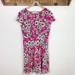 Talbots Pink Floral Flutter Sleeve Keyhole Dress